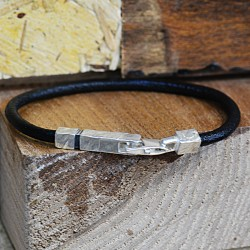Textured Silver and Leather Bracelet
