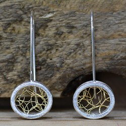 Silver and Gold wire stud Earrings