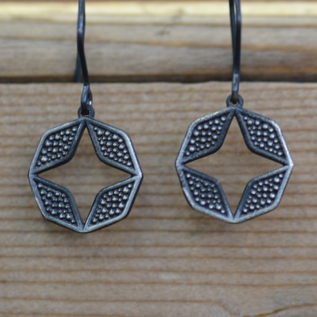 Oxidised Star Drop Earrings