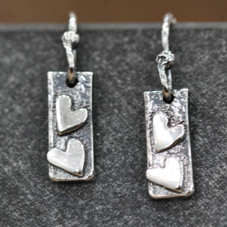 Double Heart Oxidised Drop Earrings