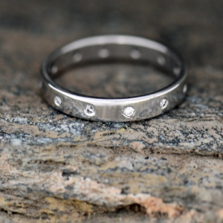 Stacking Ring/Wedding band with Diamonds
